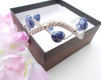 Sodalite bracelet , wire wrapped bracelet , wire wrapped jewelry , wire jewelry , gemstone bracelet , gift for her , blue bracelet ,sodalite