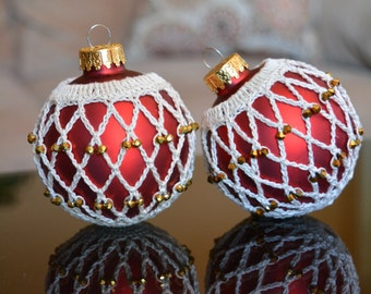 Christmas crochet ornaments - Christmas ball - set of 2 in Red