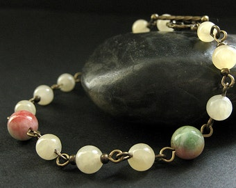 Gemstone Bracelet in Aragonite, Jade and Bronze. Seasons Change Meditation Beads. Handmade Bracelet.