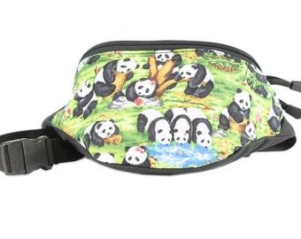 Fanny pack Panda Play Bear fabric - Cute  - Hip Waist Bag for travel, sport, and hiking