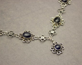 Iolite Necklace, Gemstone Necklace, Flower Necklace, Silver Necklace, Boho Necklace, Boho Jewelry, Blue Stone, Sterling Silver Necklace