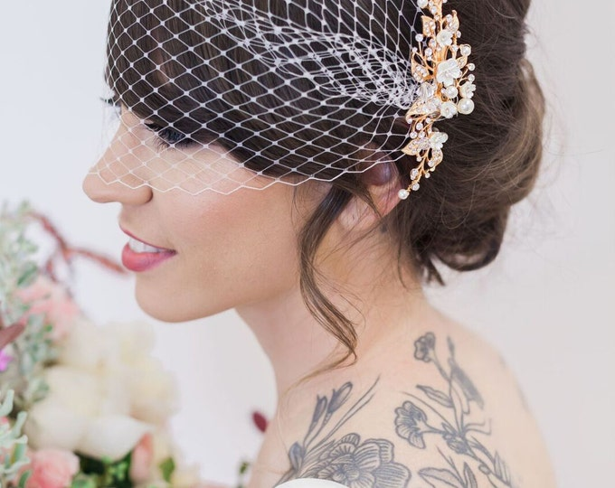 Gold Flower Headpiece Birdcage Veil, Ivory Flower Hair Vine, Birdcage Veil, Hair Clips Wedding Hair Accessories, Veil, Bridal Accessories