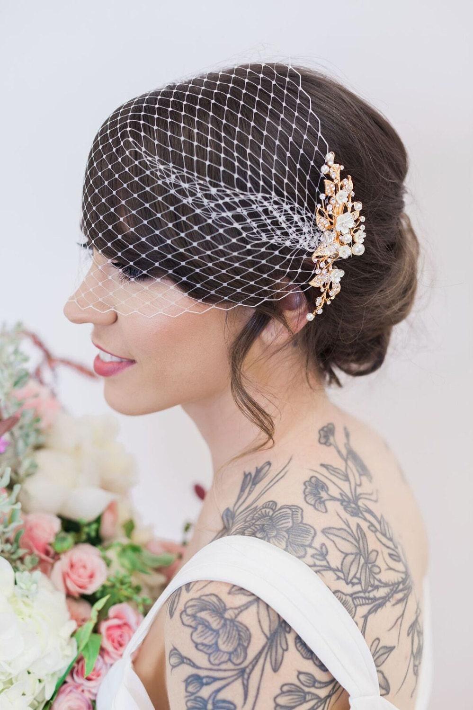 gold flower headpiece birdcage veil, ivory flower hair vine