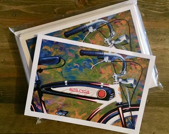 Bicycle Note Card Set - Beautiful Vintage Schwinn Bicycle Notecard or Greeting Card - Package of 8 cards with envelopes