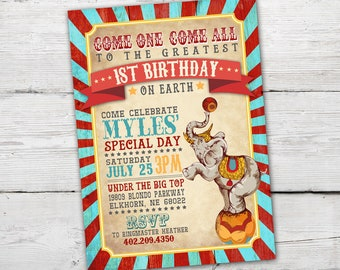 Vintage Circus Invitation, Vintage Circus Party, Vintage Circus Theme, Vintage Carnival Invitation, Circus Birthday Invitation, PRINTABLE