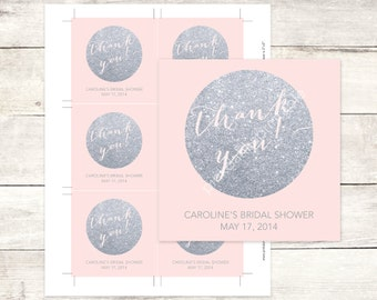 pink silver bridal shower custom favor tags pink silver glitter bridal shower thank you cards