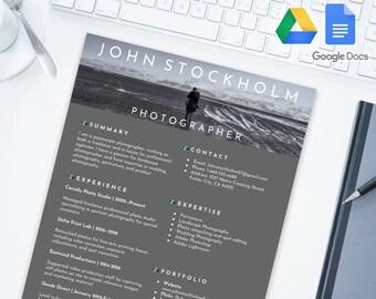 PHOTOGRAPHER Editable Resume Template for Google Docs | Google Drive