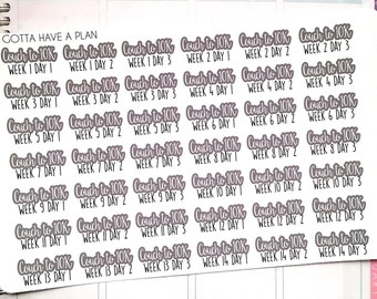 Planner Stickers C210K Couch to 10k for Erin Condren, Happy Planner, Filofax, Scrapbooking