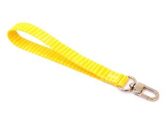 Wrist Strap - Yellow Wristlet Strap - Wallet Strap - Wrist Lanyard - Fabric Wristlet Keychain - Vegan Lanyard - Key Fob - Ready to Ship
