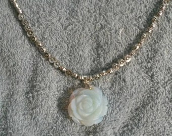 Hand Carved Opalite Rose Flower Necklace, 20 inch