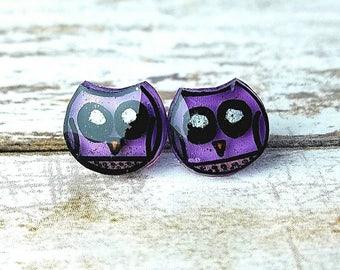 Shrink Plastic Earrings Purple Owl Earrings Valentine's Earrings Resin Jewelry Shrink Plastic Jewelry Gifts for Women Valentine's Gift