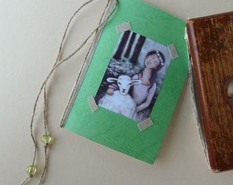 Green journal, with illustration, linen, charms