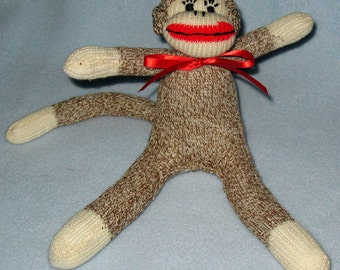 Sock Monkey made with 8 inch mini brown sock