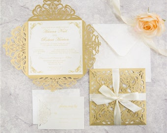 Diy laser cut pocket invitations pockets only vine laser cut diy invitation kit gold and ivory laser cut invites for wedding quince sweet solutioingenieria Image collections