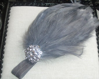 Baby Feather Headbands, Silver Gray Headbands Baby Shower, Flapper Headbands For Babies, Newborn Headband Bows