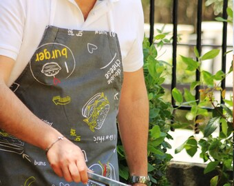 Mens Apron, Cooking Apron For Men, Cooking Gifts For Men, Grandpa Gift, BBQ Apron With Burgers Gray, Chef Apron, Mens BBQ Apron