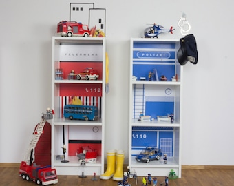 Toy house DIY - Create a police and fire station with furniture decals for two IKEA Billy bookcases (1W-SH03-03) - Furniture not included