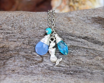 Blue Mermaid Necklace - Beach Boho Jewelry from Hawaii - Hawaii Mermaid Jewelry - Hawaiian Jewelry - Ocean Inspired Necklace made in Hawaii