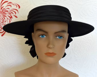 Vintage Hat | 80s Hat | Wool Hat | Black Hat | Felt Hat | Ladies Vintage Hat | Fashion Cap | Ladies Hat | Picture Hat | Felt Hat Womens
