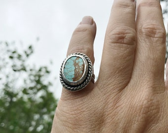 Rugged Southwestern Royston Turquoise in Sterling Handcrafted Sterling Statement Ring Size 7