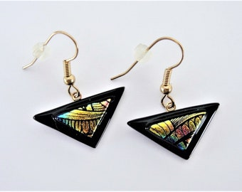 Dichroic Glass Etched Triangle on a Black Triangle Wire Earrings Gold Pink Blue Etched Glass Triangle Tack Fused for 3D Effect Dangles
