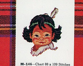 Little Sioux, Cross Stitch Kit, Native American, DIY, 1957, Vintage, M-146, Gift for Her, Do It Yourself, Home Decor, Jean McIntosh, French
