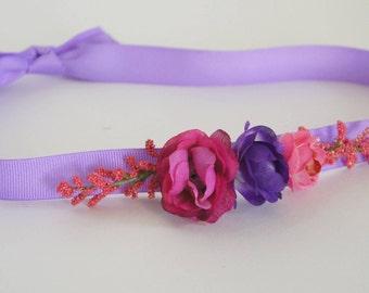 Pink and purple floral ribbon headband