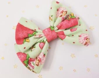 Kawaii Strawberry Shortcake Hair Bow Clip - Fairy Kei Decora Pastel Goth Harajuku inspired