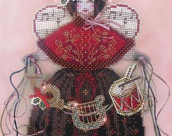 Brooke's Books Spirit of Christmas Carols Angel Dimensional Ornament INSTANT DOWNLOAD Cross Stitch Chart
