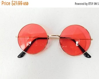 30% SPRING SALE Vintage Classic Standard Transparent Fashion Hippie Big Round Spectacle Sunglasses Frame Gold Red Lens Glasses Sunnies