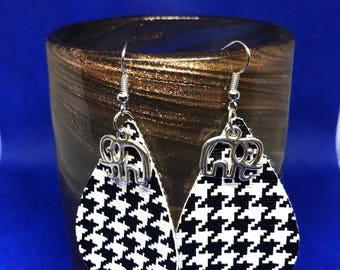 Teardrop Faux Leather Earrings /Houndstooth Earrings/ University of Alabama Earrings