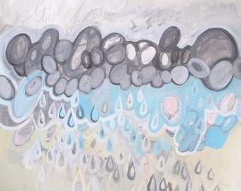 On a Foundation of Love, abstract acrylic painting on canvas, abstract rain painting, raindrop painting