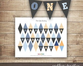 Mini Cake Bunting in Blue and Orange, First Birthday Cake Decorations, Boy's 1st Birthday ONE cake bunting, INSTANT DOWNLOAD - Printable