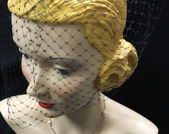 Black Birdcage veil, made from VINTAGE French Net