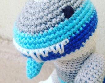 Blue Tyrannosaurus Rex, Turquoise T Rex, Baby Boy Gift, Baby Girl Present, Blue Nursery, Dinosaur Birthday, Crochet Dinosaur, Plush, Stuffie