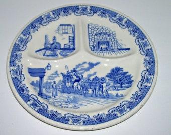 Restaurant Ware Ye Olde Inn Grille Divided Blue White Plate Iroquois China