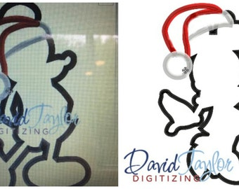 Mickey & Minnie Mouse Santa Silhouette 2 Embroidery Machine Design Pack - Applique - Instant Download - David Taylor Digitizing