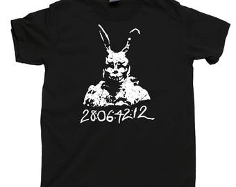 Donnie Darko T Shirt 28 06 42 12 Frank Bunny Rabbit Suit Time Travel Cult Indy Movie Jake Gyllenhaal Stupid Man Suit World Will End Tee