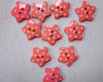 10 Pink Dotted Star Buttons