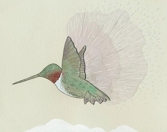 Fleeting - hummingbird print
