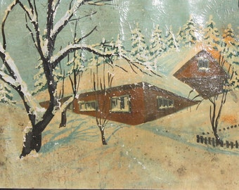 1979 oil painting winter country scene signed