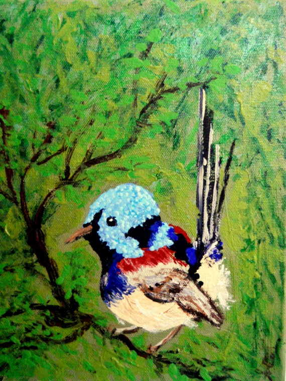 VIRGIL Acrylic Painting on Stretched Canvas, Variegated Wren, Outsider Folk Art birds, Folk Artist Stacey Torres, wildlife nature