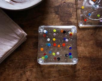Drink Coasters, Holiday Coasters, Set of 4, Rainbow Polka Dot Decor, Hostess Gift