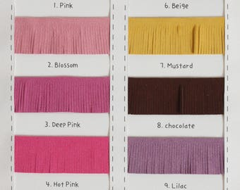 20 colors Faux Suede fringe trims/1yd