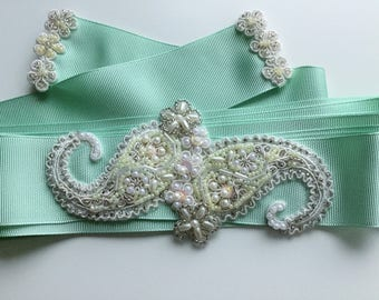 Bridal Sash with Lace and Beading Paisley Design