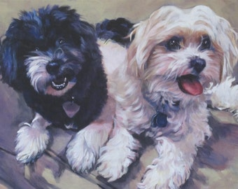 Havanese dog art CANVAS print of LA Shepard painting 12x16 havanais
