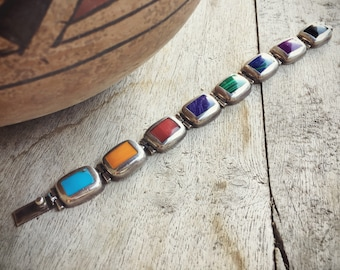 Mexican Bracelet Sterling Silver Turquoise Multistone Jewelry, Taxco Silver Mexican Jewelry