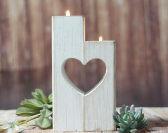 Heart Cut Out, Candle Holder, White Wood Candle, Valentines Day, Wood Gift, Gift for her, Gifts under 25, Mom Gift, Wife Gift, White Heart
