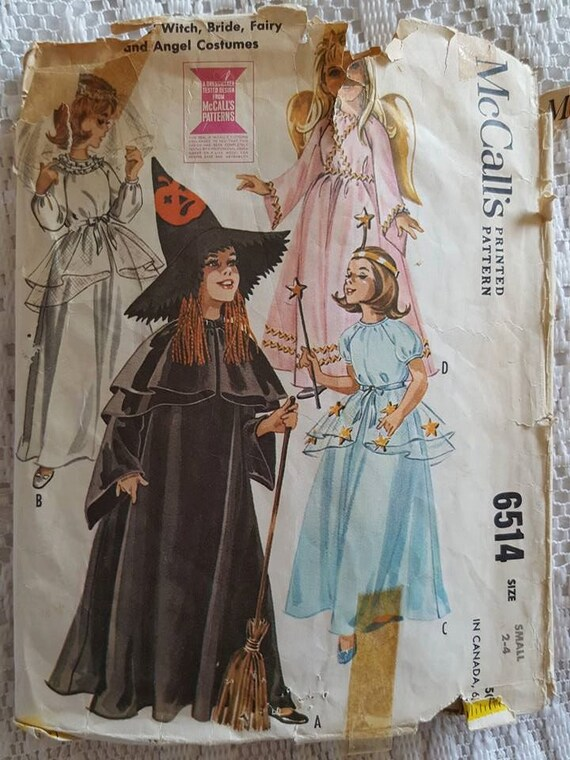 Vintage 1962 Witch, Bride, Fairy and Angel Costumes Sewing Pattern ...