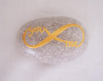 Painted Pebble YOU ME INFINITY Messsage Pebble Hand Painted Natural Pebble